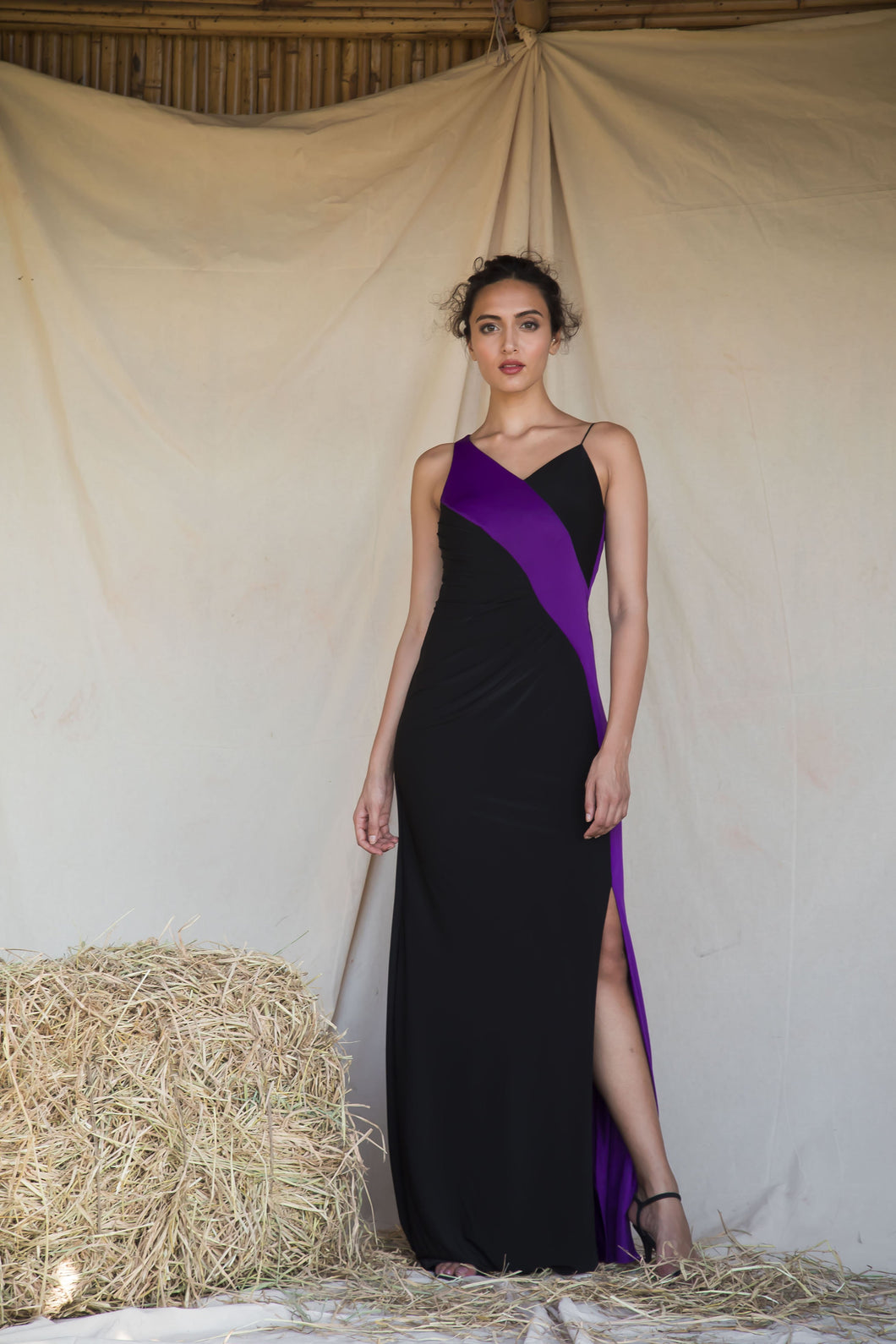 Violet and Black Color Block Draped Gown