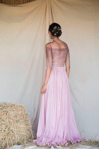 Pinkish Mauve Ombre Line Hand Pleated Georgette Gown