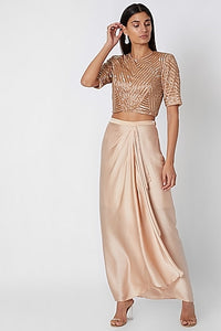 Nude Geometric Crop Top with Skirt