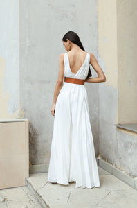 White Flowy Pleated Jumpsuit