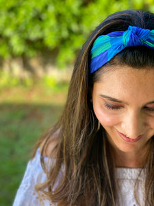 Pleated Hairband with Front Knot - Blue & Green