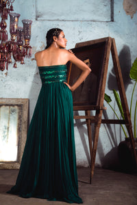 Bottle Green Chiffon Draped Gown with One Sleeve Trail