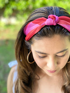 Pleated Hairband with Front Knot - Red & Pink