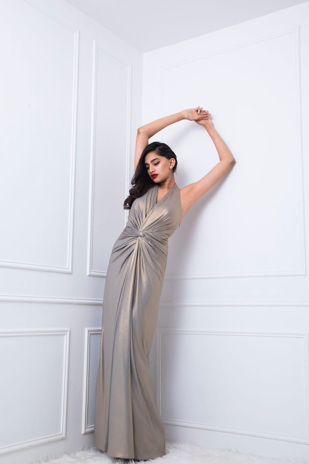 Metallic Gold Halter Neck Draped Gown