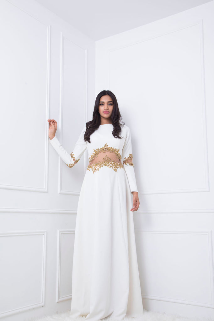 White Gown with Gold Embellished Waistline