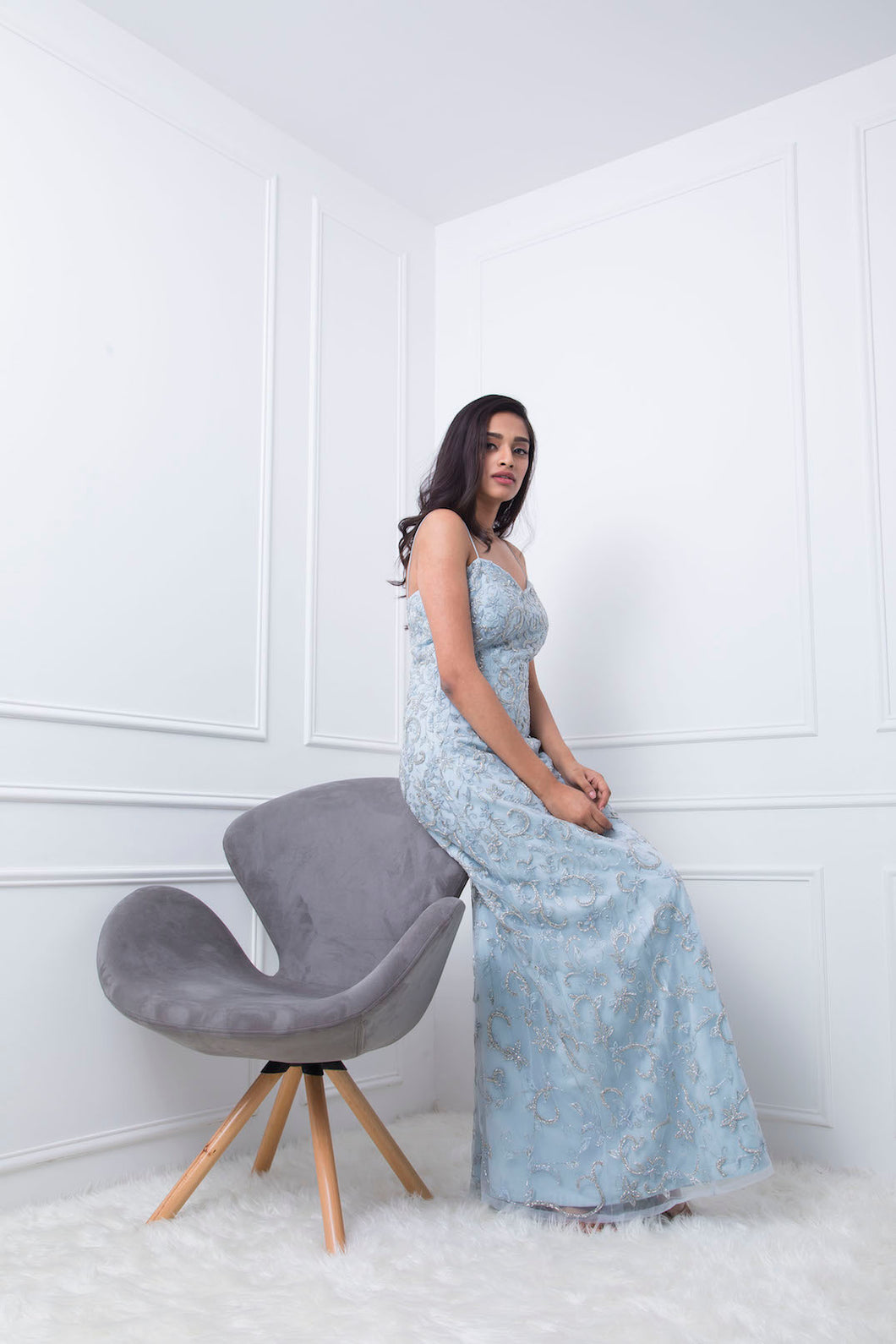 Pale Blue Floral Embellished Couture Gown