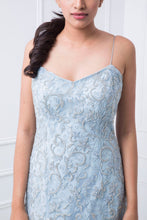 Load image into Gallery viewer, Pale Blue Floral Embellished Couture Gown