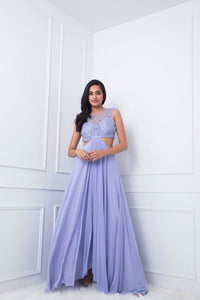Lilac 3D Flower Embellished Gown