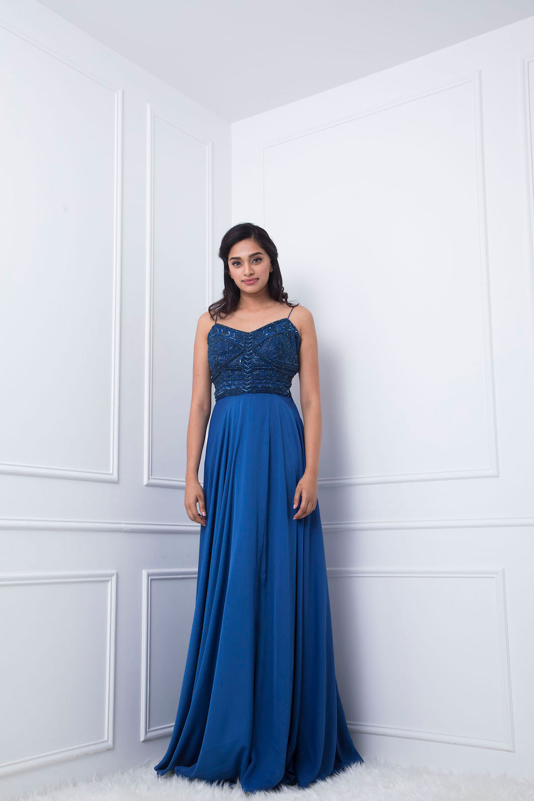 Blue Geometric Detail Embellished Gown