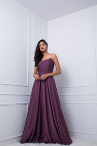 Plum Mauve Floral Embellished Spaghetti Gown