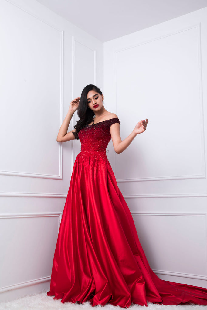 17a1fc3c1a Ombre Off-shoulder Embellished Couture Gown