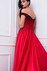 Ombre Off-shoulder Embellished Couture Gown