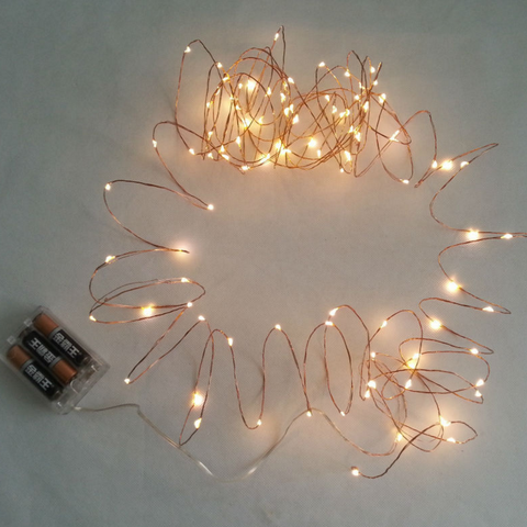 AA Battery Operated 33FT 10M 100 led Decoration Festi LED Copper Wire String Fairy Lights Lamps