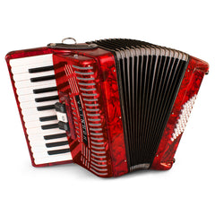 Hohner Hohnica 48 Bass Entry Level Piano Accordion Pearl Red with Gig Bag & Straps