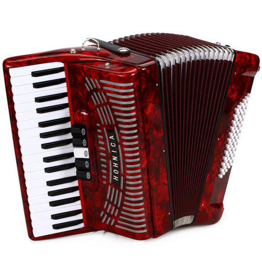 Hohner Hohnica 72 Bass Entry Level Piano Accordion Pearl Red with Gig Bag & Straps