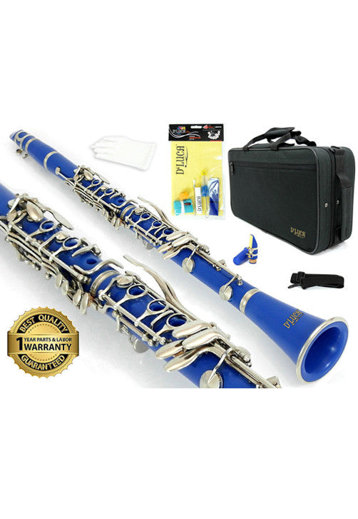 D'Luca 200 Series Blue ABS 17 Keys Bb Clarinet with Double Barrel, Canvas Case, Cleaning Kit and 1 Year Manufacturer Warranty