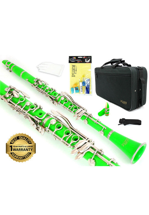 D'Luca 200 Series Green ABS 17 Keys Bb Clarinet with Double Barrel, Canvas Case, Cleaning Kit and 1 Year Manufacturer Warranty