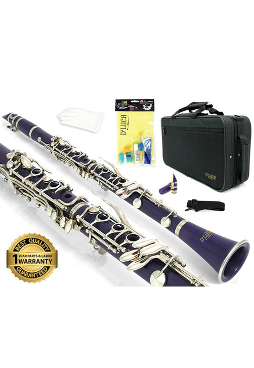 D'Luca 200 Series Purple ABS 17 Keys Bb Clarinet with Double Barrel, Canvas Case, Cleaning Kit and 1 Year Manufacturer Warranty