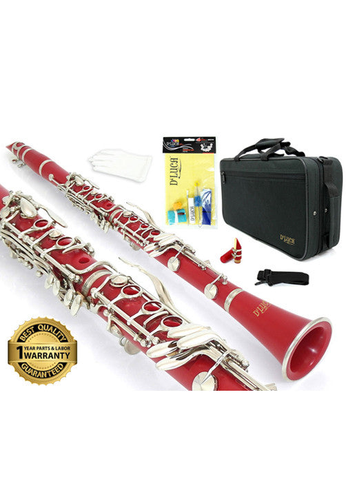 D'Luca 200 Series Red ABS 17 Keys Bb Clarinet with Double Barrel, Canvas Case, Cleaning Kit and 1 Year Manufacturer Warranty