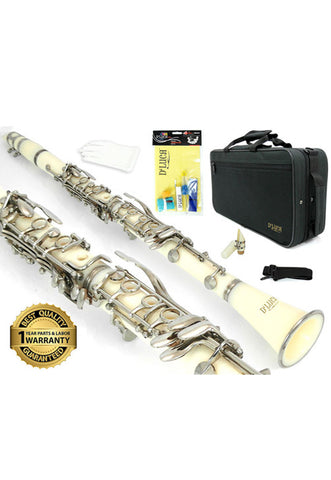 D'Luca 200 Series White ABS 17 Keys Bb Clarinet with Double Barrel, Canvas Case, Cleaning Kit and 1 Year Manufacturer Warranty