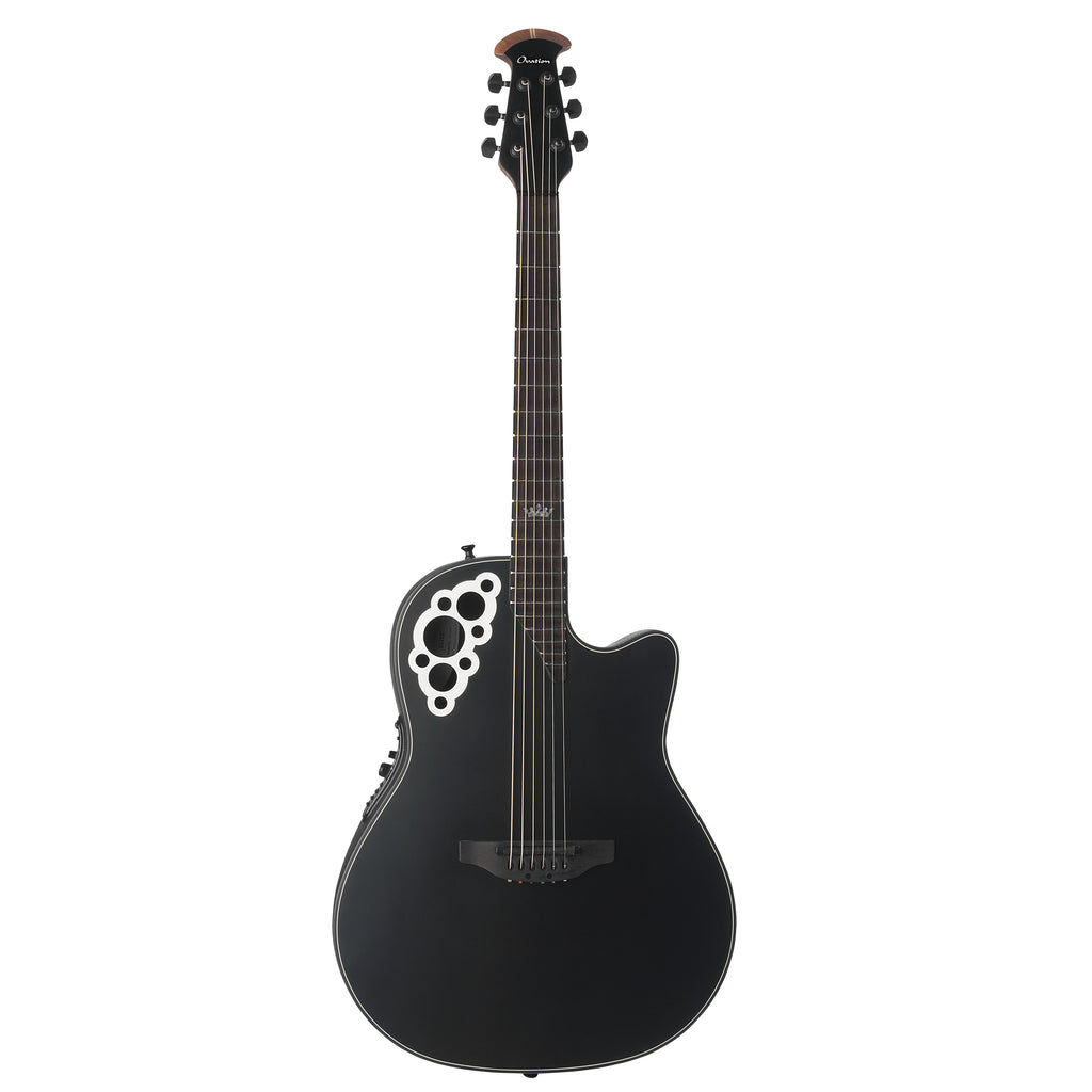 Ovation Signature Kaki King Acoustic Electric Guitar With Case, Black Satin