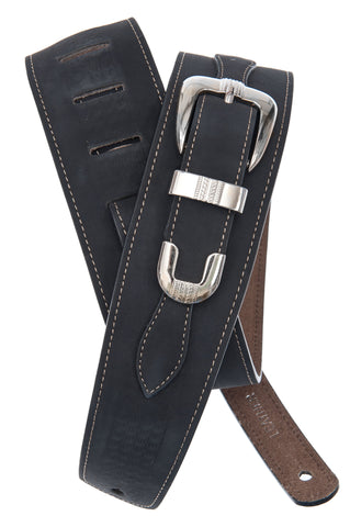 Planet Waves Belt Buckle Leather Guitar Strap, Black