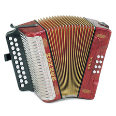 Hohner Diatonic Button Accordion 1600/2 Erica Two-Row GC, Red