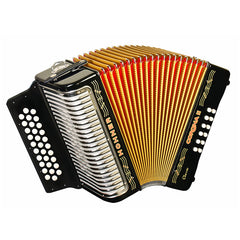 Hohner Button Accordion Corona II Classic EAD, With Gig Bag, Straps And Adjustable Bass Strap, Jet Black