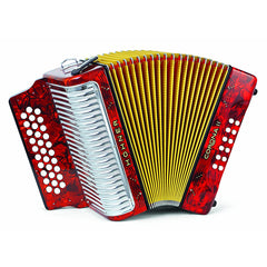 Hohner Button Accordion Corona II Classic EAD, With Gig Bag, Straps And Adjustable Bass Strap, Pearl Red