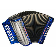 Hohner Button Accordion Corona II Classic FBbEb, With Gig Bag, Straps And Adjustable Bass Strap, Pearl Dark Blue