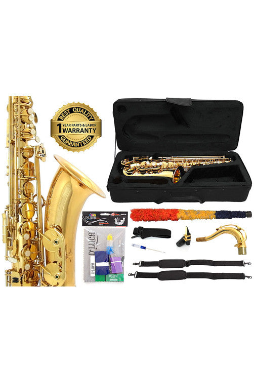 D'Luca 370 Series Gold Brass Bb Tenor Saxophone with F# key, Professional Case, Cleaning Kit and 1 Year Manufacturer Warranty