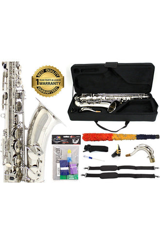 D'Luca 370 Series Nickel Plated Bb Tenor Saxophone with F# key, Professional Case, Cleaning Kit and 1 Year Manufacturer Warranty