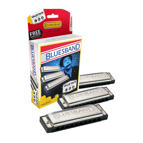 Hohner Bluesband Harmonica 3 Piece Pro Pack in the Keys of G, C & A