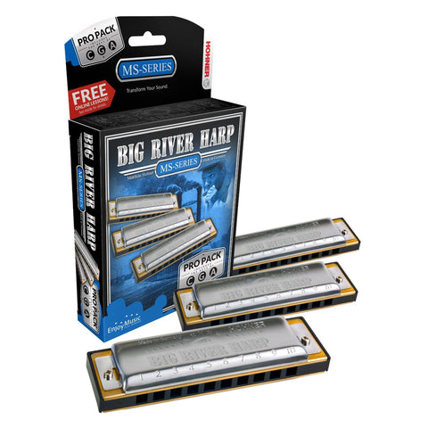 Hohner Big River Harp Pro Harmonica 3-Pack Keys of G, C, A