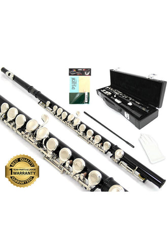 D'Luca 400 Series Black 16 Closed Hole C Flute with Offset G and Split E Mechanism, PU Leather Case, Cleaning Kit and 1 Year Manufacturer Warranty