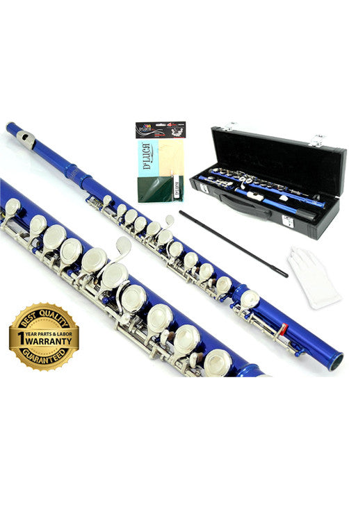 D'Luca 400 Series Blue 16 Closed Hole C Flute with Offset G and Split E Mechanism, PU Leather Case, Cleaning Kit and 1 Year Manufacturer Warranty