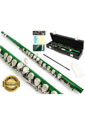 D'Luca 400 Series Green 16 Closed Hole C Flute with Offset G and Split E Mechanism, PU Leather Case, Cleaning Kit and 1 Year Manufacturer Warranty