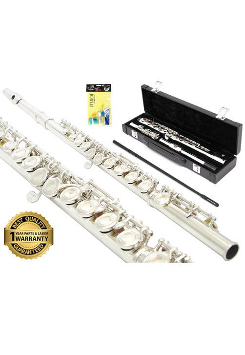 D'Luca 400 Series Nickel Plated 16 Closed Hole C Flute with Offset G and Split E Mechanism, 1 Year Manufacturer Warranty