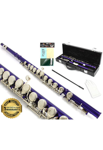 D'Luca 400 Series Purple 16 Closed Hole C Flute with Offset G and Split E Mechanism, PU Leather Case, Cleaning Kit and 1 Year Manufacturer Warranty
