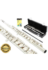 D'Luca 400 Series Silver Plated 16 Closed Hole C Flute with Offset G and Split E Mechanism, 1 Year Manufacturer Warranty