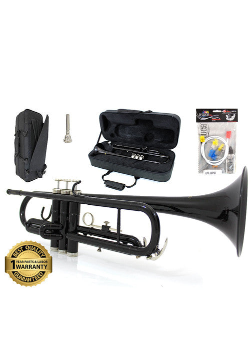 D'Luca 500 Series Black Standard Bb Trumpet with Professional Case, Cleaning Kit and 1 Year Manufacturer Warranty