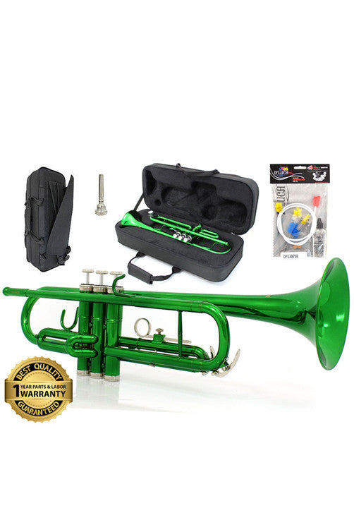 D'Luca 500 Series Green Standard Bb Trumpet with Professional Case, Cleaning Kit and 1 Year Manufacturer Warranty