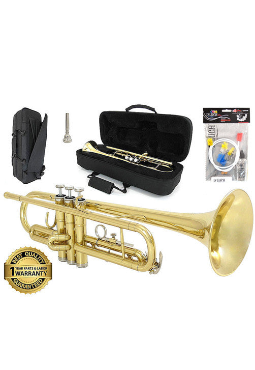 D'Luca 500 Series Gold Brass Standard Bb Trumpet with Professional Case, Cleaning Kit and 1 Year Manufacturer Warranty