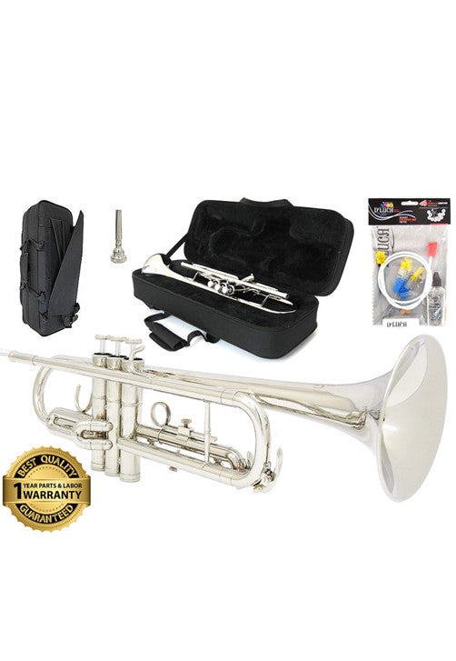 D'Luca 500 Series Nickel Plated Standard Bb Trumpet with Professional Case, Cleaning Kit and 1 Year Manufacturer Warranty