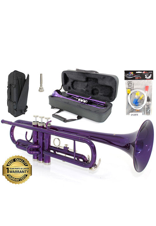 D'Luca 500 Series Purple Standard Bb Trumpet with Professional Case, Cleaning Kit and 1 Year Manufacturer Warranty