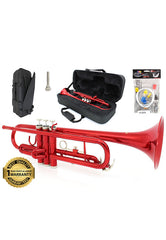 D'Luca 500 Series Red Standard Bb Trumpet with Professional Case, Cleaning Kit and 1 Year Manufacturer Warranty