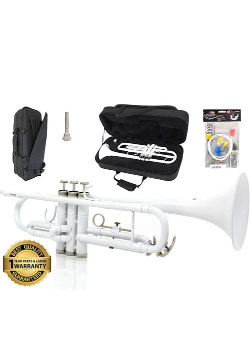 D'Luca 500 Series White Standard Bb Trumpet with Professional Case, Cleaning Kit and 1 Year Manufacturer Warranty