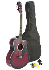 Fever Full Size Jumbo Body Steel String Acoustic Guitar Red with Bag, Tuner and Strings