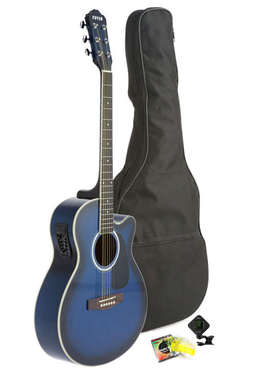 Fever Full Size Jumbo Body Steel String Acoustic-Electric Guitar Blue with Bag, Tuner and Strings