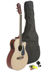 Fever Full Size Jumbo Body Steel String Acoustic-Electric Guitar Natural with Bag, Tuner and Strings